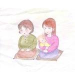 祖母と親子イラスト